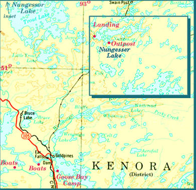 Map of Part of Lac Seul and Region